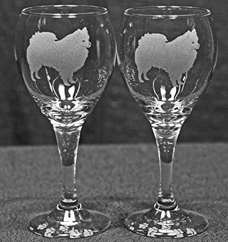 American Eskimo Dog Laser Etched Wine Glass Set 2 TDW
