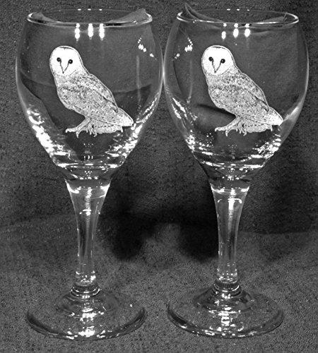 Barn Owl Laser Etched Wine Glass Set 2 TDW