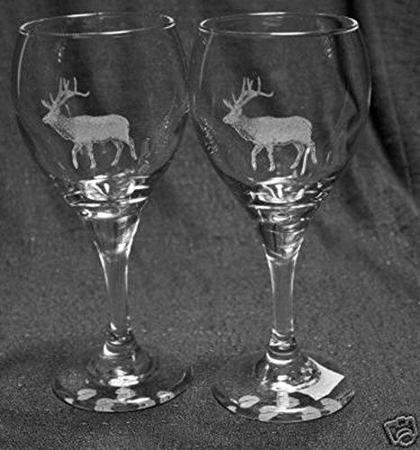 Bull Elk Laser Etched Wine Glass Set 2 TDW