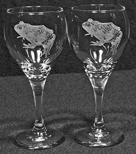 Bull Frog Laser Etched Wine Glass Set 2 TDW