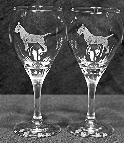 Bull Terrier Dog Laser Etched Wine Glass Set 2 TDW
