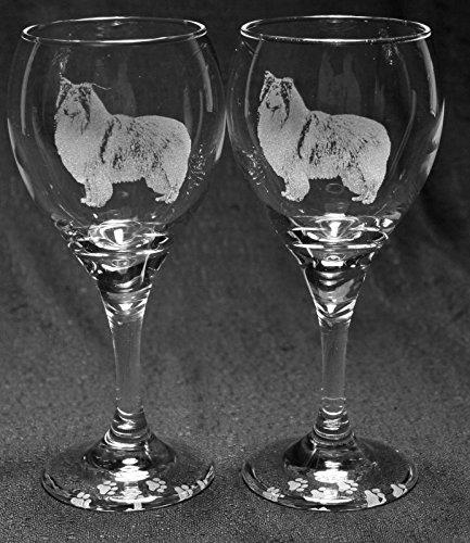 Rough Collie Dog Laser Etched Wine Glass Set 2 TDW