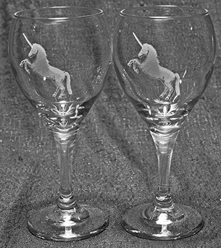 Unicorn Laser Etched Wine Glass Set 2 TDW