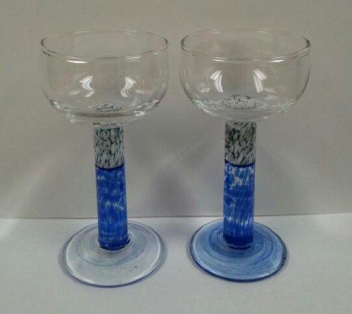 Blown Art Glass Mini Wine Glasses - Set of 2