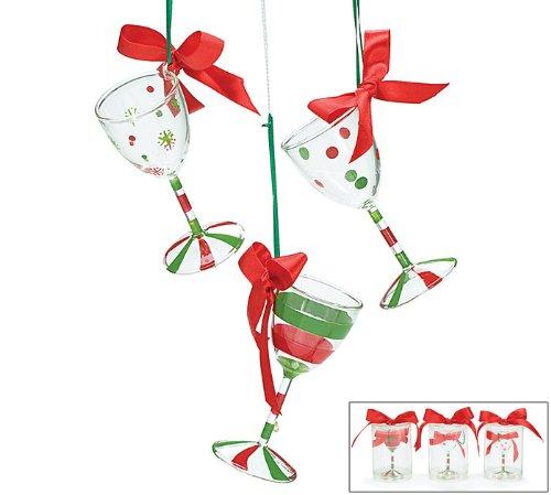 Hand Blown Wine Glass Christmas Tree Ornaments Set of 3