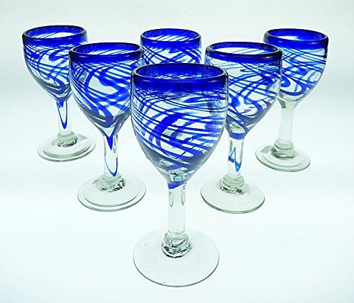 Mexican Glass Wine Hand Blown Blue Swirl Set of 6 11 Oz