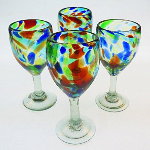 Mexican Glass Wine Hand Blown Liquid Confetti Swirl Design Set of 4 12 Oz