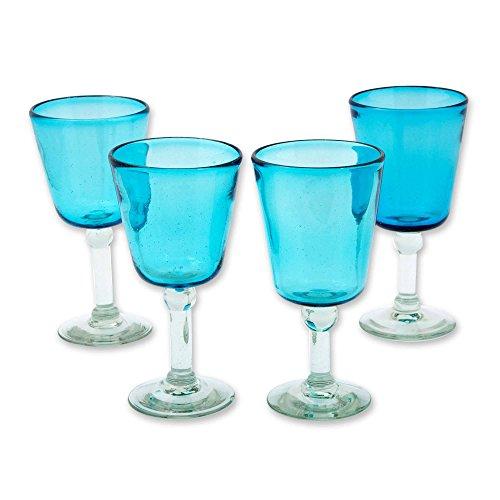 NOVICA 242138 Caribbean Blue Blown Wine Glasses Set of 4 75 Tall