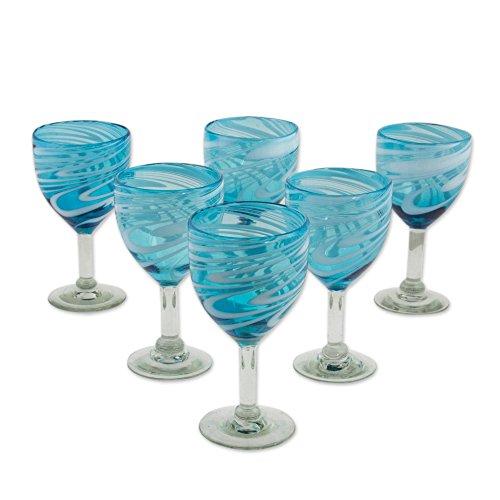 NOVICA Blue Whirling Aquamarine -Hand Set of 6 Blown Wine Glasses