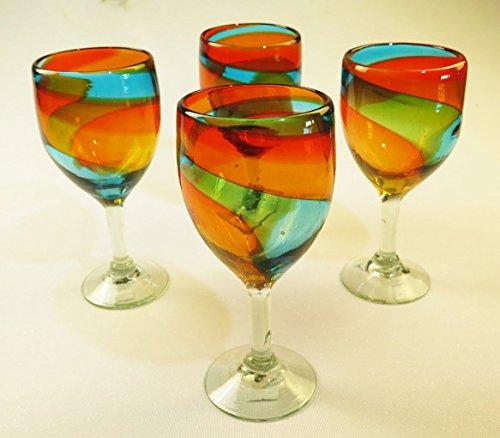 Wine Glasses Hand Blown Rainbow colors 15 Oz Set of 4