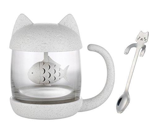 Dyshuai Cute Cat Glass Tea Water Bottle Tea Mug with Lid Fish Tea Infuser Strainer Filter Cat Stirrer