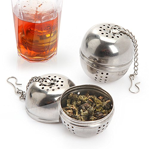 Healthcom 2pcs Stainless Steel Tea Ball Strainers Mesh Tea Ball Strainer Tea Infuser Strainers Tea Strainer Filters