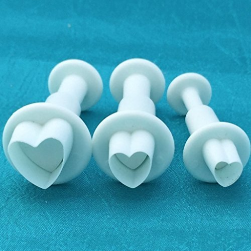 Mini Heart Plunger Cutters Set Of 3 Graduated Sizes For Polymer Clay