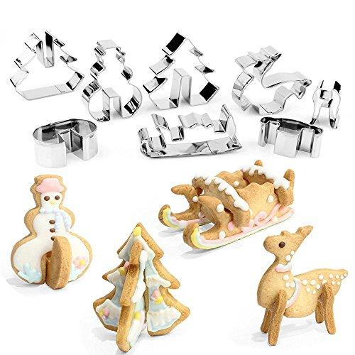 3D Christmas Cookie Cutters Set Stainless Steel Food Grade - Snowman Christmas Tree Reindeer Sleigh - 8 Piece
