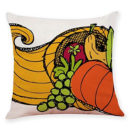 Hsada_Home Storage HSada Thanksgiving Square Throw Pillow Case - Cotton Linen Thanksgiving Turkey Print Cushion Cover Home Sofa Bedding Decoration - Fits 18 x 18 PillowsTurkey