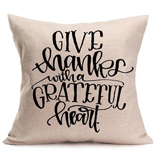 Sothread Pillowcase Fall Decorative Thanksgiving Square Soft Sofa Cushion Cover Gift 18 H