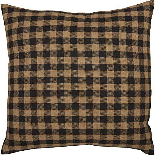 VHC Brands Black Check Textured Cotton Primitive Thanksgiving Bedding Square Pillow Raven