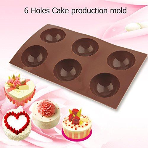 Kitchen Ware LLC Hot 6 Holes Silicone Muffin Half Round Semi Circle Mold Pancakes Cake Pudding Pastry Mould Baking Sugar Craft Chocolate Tools