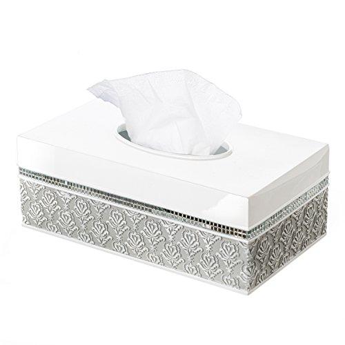 Creative Scents Mirror Damask Rectangle Tissue Box Cover Decorative Bathroom Tissues Paper Napkin Holder Bottom Slider Gray White