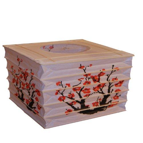 Japanese Style Rectangle Paper Lantern - Red Sakura Cherry