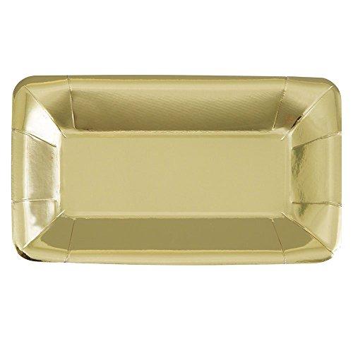 Unique Industries Foil Rectangle Paper Appetizer Plates 8 Pieces - Gold