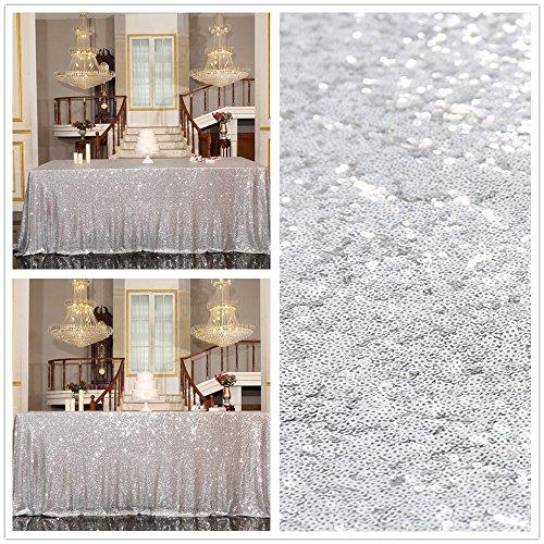 Partydelight Silver Sequin Tablecloth Rectangular 60x126 for wedding dessert party banquet