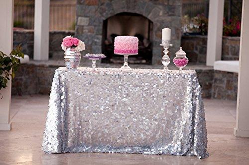 Sequin Tablecloth-90x132-Inch-Silver-Rectangular Embroidered Sequin Glitz TableclothsLinen Silver