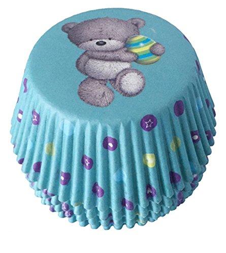 100 PiecesSet Blue Bear Pattern Cupcake Paper WrappersBaking CupCake Decoration