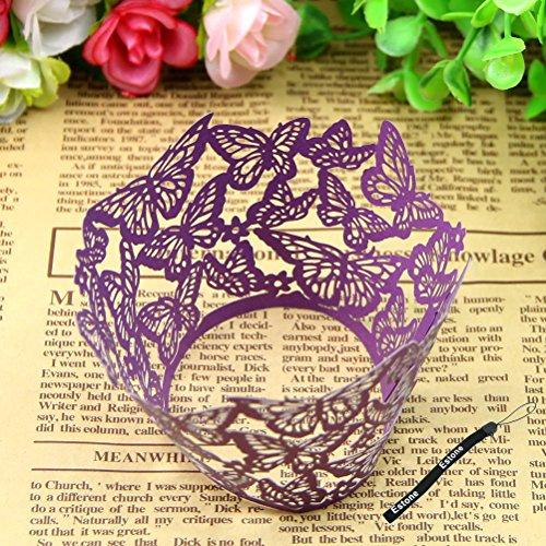 Estone 12pcs Butterfly Pattern Hollow Out Cake Paper Wrapper Cupcake Wedding Supplies Purple
