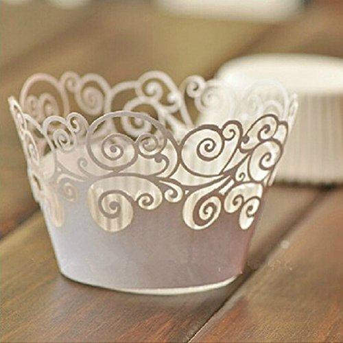 Krismile 24Pcsset white Vine Filigree Cupcake Laser Cut Clouds Design Cake Paper Wrapper Muffin Wrap Surrounding Edge Birthday Party