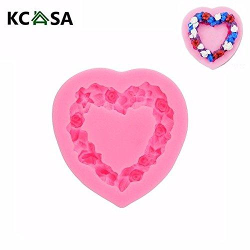 Bargain World KCASA Heart Shape Garland Wreath Silicone Fondant Mold Gum Paste Mould