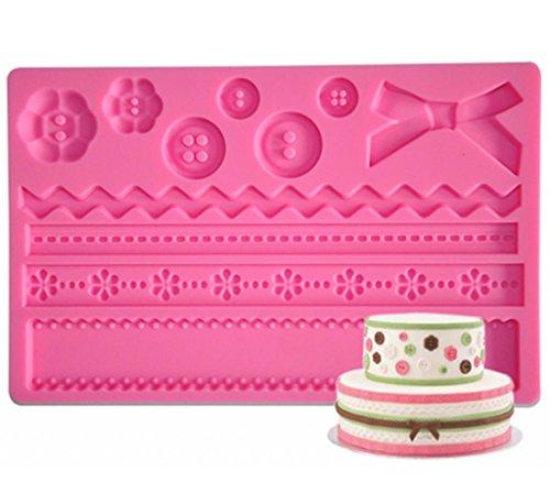 FOUR-C Silicone Mat Button Fondant and Gum Paste Mould Color Pink