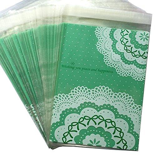 HEMALL 100ps 15203cm Self-adhesive Baking Bag Packing bag Cute Biscuit bag Cellophane Bag Plastic Green Lace Q171