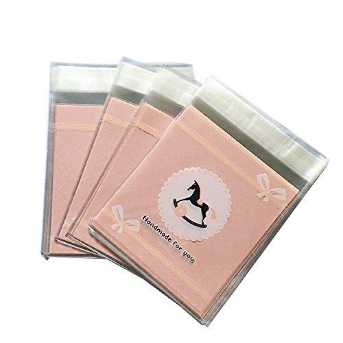 HEMALL 100ps 18x235cm Self-adhesive Baking Bag Packing bag Cute Biscuit bag Cellophane Bag Plastic Pink Horse Q157