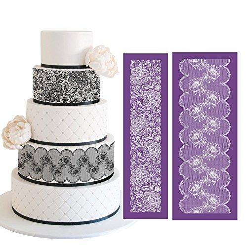ART Kitchenware 193×75 Large Alencon Lace Mesh Stencil Kit Lace Floral Cake Stencil Set Wedding Rose Petal Cake Side Stencils Template Mold Cake Decorating Bakery Tool MST-01&MST-42 Purple Color
