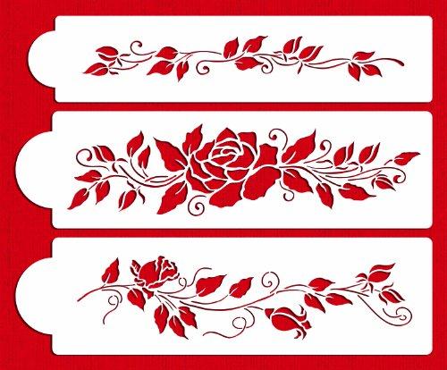 Designer Stencils C560 Rose Cake Stencil Set Beigesemi-transparent