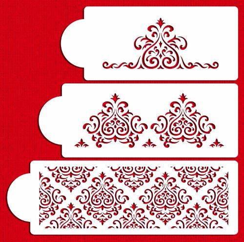 Designer Stencils C591 Elaines Cake Stencil Set Beigesemi-transparent