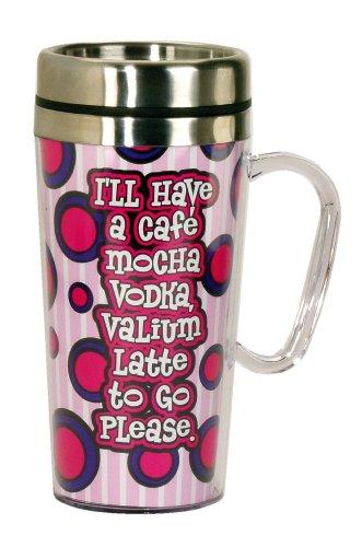 Spoontiques Cafe Mocha Vodka Insulated Travel Mug Pink