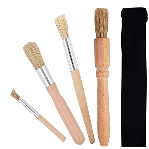 DXary Espresso Brush Set 4 Pieces Professional Espresso Machine Cleaning Brush Wood Handle Natural Bristles Brush for Coffee Grinders Cleaning