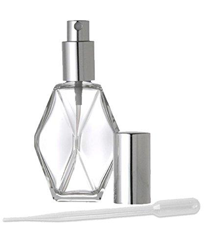 1 Refillable 2 Oz Perfume Atomizer Spray Pump Empty Glass Bottle Silver Diamond