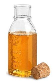 Nakpunar 1 pcs 8 oz Empty Glass Honey Bottle with Cork Stopper - Muth Style