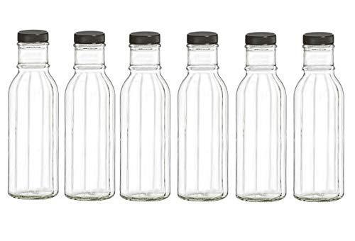 Nakpunar 6 pcs 12 oz Wide Mouth Empty Glass Bottles with Black Plastic Lids - Beveled Faceted 6 Black Beveled