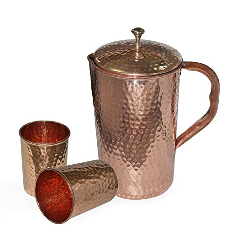 Christmas Gifts Hammered Pure Copper Water Jug Pitcher and 2 Glass Drinkware Set for Ayurvedic Health Benefits