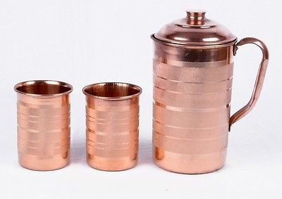 PURE COPPER WATER JUG WITH 2 GLASS Pitcher PURE ENERGIZED WATER NATURAL HEALTH