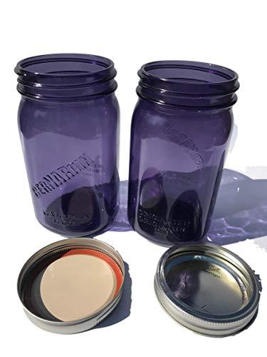Purple Quart Mason Jars Wide Mouth with Bernardin Logo Set of 2 includes Lids and Bands