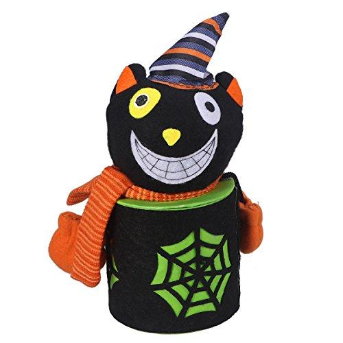 BESTOYARD Halloween Cute Cartoon Black Cat Candy Jar Tin Treat Cookie Sweet Storage Container Holder Canister Bucket Bin Gift Box for Kids Halloween Home Party Bar Decoration Cosplay Prop