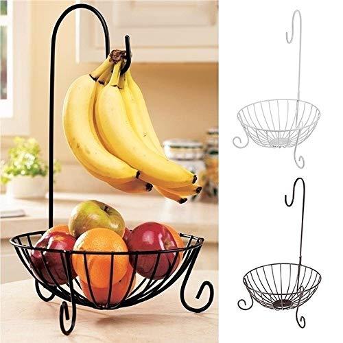 Big Big Shot Kitchen Metal Fruit Basket with Detachable Banana Hanger Holder Hook Black