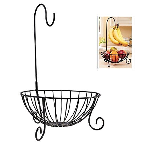 Novelty Kitchen Metal Fruit Basket with Detachable Banana Hanger Holder Hook Black
