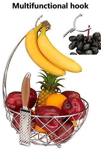 RosyLineFruit Basket Banana holder Elegant Fruit Bowl with Banana Tree HangerChrome Finish