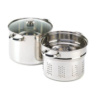 VERDUGO GIFT Stainless Pasta Cooker Stock Pot Strainer Lid Set 8 quart